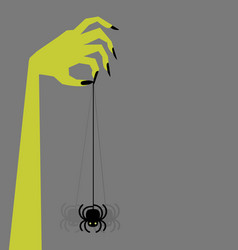 zombie hand holding creepy swinging spider vector image vector image