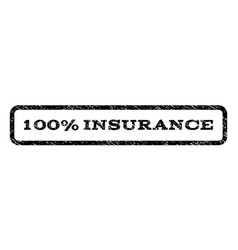 100 percent insurance watermark stamp vector