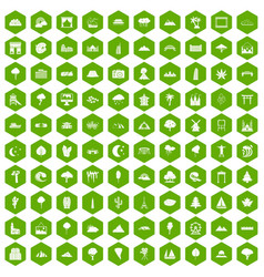 100 view icons hexagon green vector