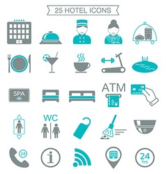 25 hotel services icons Silhouette Color block vector image