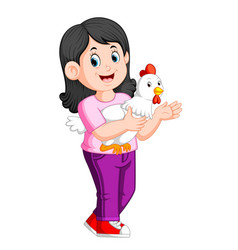 a beatiful girl holding a rooster vector image