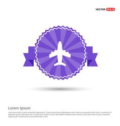 Airplane icon - purple ribbon banner vector