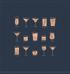 Alcohol drinks and cocktails icon flat set blue vector