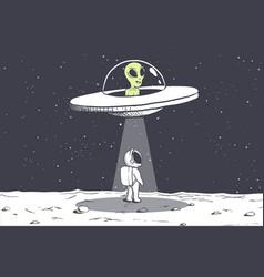 An alien abducts astronaut vector