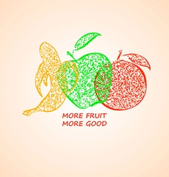 Apple Banana And Orange Fruit Silhouettes vector