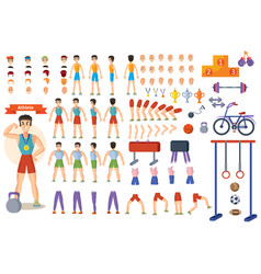 Athlete sportsman cartoon constructor man vector