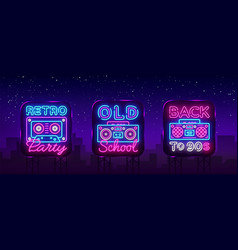 Back to 90s neon poster collection card or vector