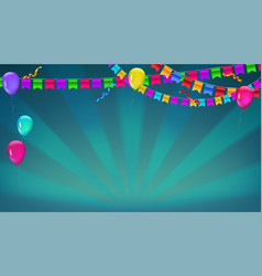 Banner with sunbeams in broadway style garland vector