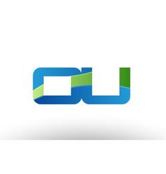 blue green ou o u alphabet letter logo vector image