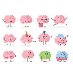 Brain character emoji emoticons set funny cartoon vector