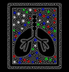 Bright mesh 2d lungs fluorography with flare spots vector