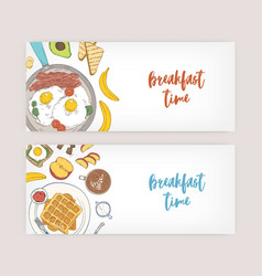 Bundle of horizontal web banner templates with vector