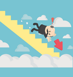 business concept falling chart on blue vector image