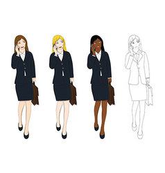 Business Woman Talking Phone Holding Bag vector