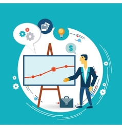 businessman presents a graph vector image