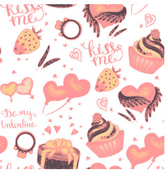 cake with pink gifts seamless pattern vector image