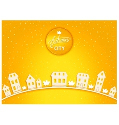Cartoon autumn city vector image