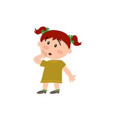 Cartoon character girl in surprise vector