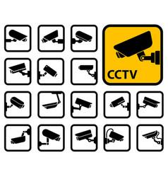 cctv cameras icons vector image