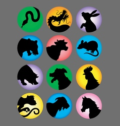 Chinese Zodiac Color Silhouettes vector image