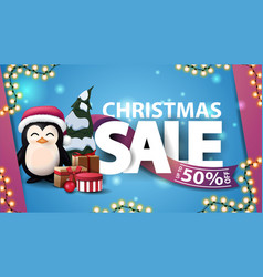 Christmas sale up to 50 off blue discount banner vector