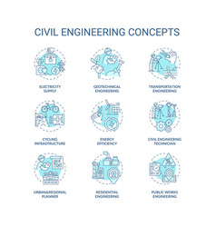 Civil engineering turquoise concept icons set vector