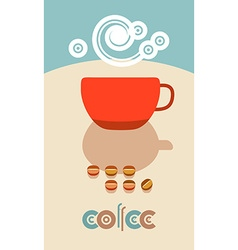 Coffee beans steam over cup Flyer banner menu vector