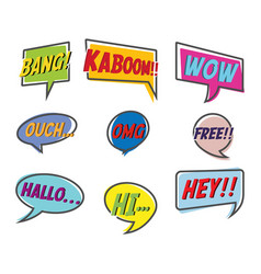 comic style bubble speech cartoon set vector image