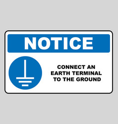 connect an earth terminal to the ground sign vector image