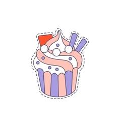 Cupcake Bright Hipster Sticker vector