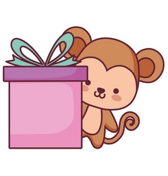 cute and little monkey with gift vector image