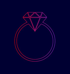 diamond sign line icon with vector image