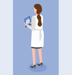 Doctor woman holding tablet pc vector
