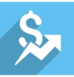 Dollar Growth Long Shadow Square Icon vector