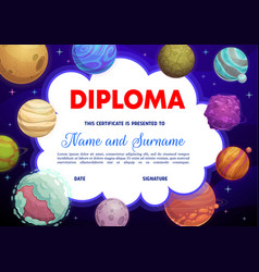 education school diploma with alien planets space vector image