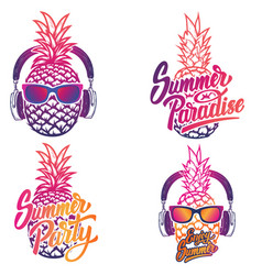 Enjoy summer set of summer emblems pineapple with vector
