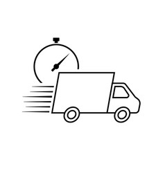 fast delivery icon with truck and timer vector image