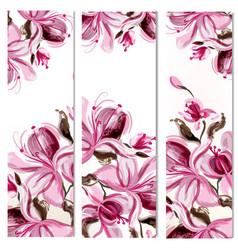 Floral vertical brochures set with magnolia vector