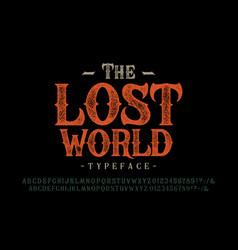 font lost world craft retro vintage typeface vector image