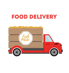 food delivery - shipping of potato truck vector image