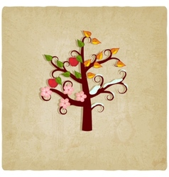 four seasons trees old background vector image