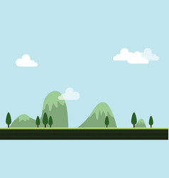 Game background hill cartoon style vector