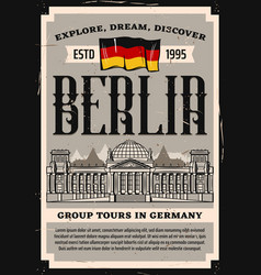 germany reichstag travel landmark poster vector image