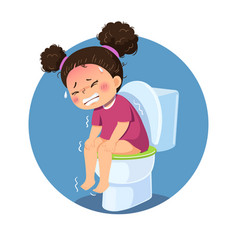 Girl sitting on toilet and suffering from diarrhea vector