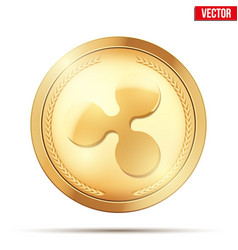 gold coin with ripple cryptocurrency sign vector image