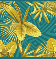 Golden tropica leaves seamless abstract geometric vector