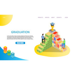 Graduation landing page or website template vector
