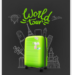 green modern plastic suitcase with lettering logo vector image