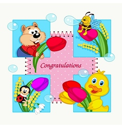 Greeting card with congratulation vector