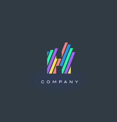 H letter logo with colorful lines design rainbow vector